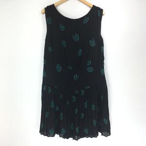 Ann Taylor LOFT 14 Black Dress Green Hearts